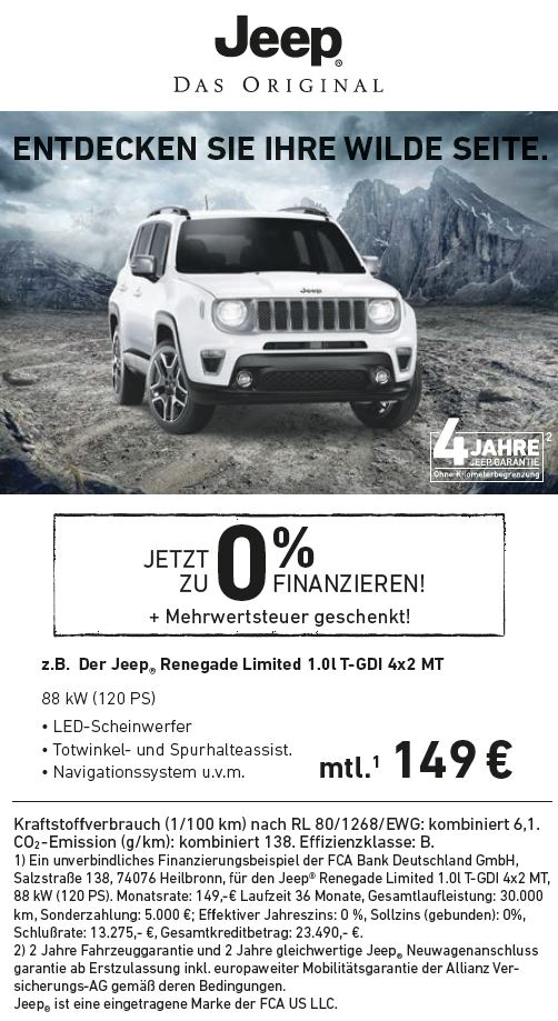 Angebot Jeep Renegade